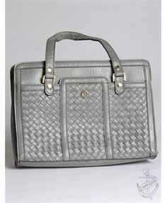 Stylish slate grey 1990's (circa) woven finish hand held bag  £16.00