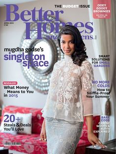 Gorgeous #MugdhaGodse on April issue cover of  #BetterHomesAndGardens India ...Smart solutions for small gardens..