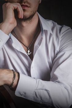 Platinum jewelry - chain necklace bracelet for men Boy Photography Poses, Dark Photography, Daddy Aesthetic, Mens Sterling Silver Necklace, Swag Boys, Men Photoshoot, Poses For Men, Boys Dpz, Instagram Outfits