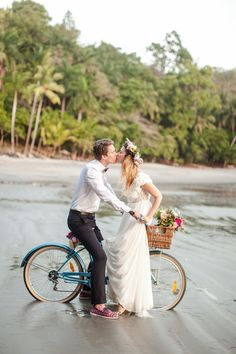 #bicycle, #transportation  Photography: Chloe Murdoch Photography - chloemurdochphotography.com  Read More: http://www.stylemepretty.com/2014/08/08/colorful-costa-rica-beach-elopement/