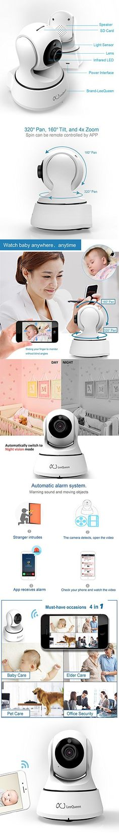 Wireless Baby Monitor - Digital Audio Intelligent Camera with HD 720P & Intelligent Motion Alerts & Talkback System & Night Vision for Android / iPhone / iPad / Windows LeeQueen Exclusive Sale