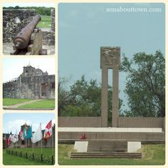 original cannon, back side of Chapel, 9 flags that have flown over the fort, Fanin Memorial Grave site at Goliad, Texas