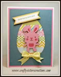 Easter Card with washi tape and the bunny from Create a Critter 2 www.craftysisterscreations.com