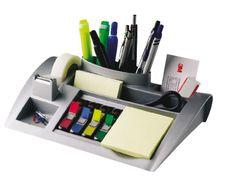 Bureau organizer 3M post-it c50 zilvergrijs. Moderne deskorganiser voor Post-it Notes, Post-it Index en Scotch Magic tape. Handige vakjes voor schaar, pennen en paperclips. #DKVH