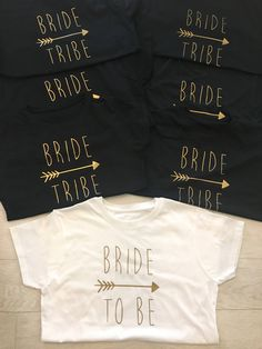 Bride Tribe, Hen Party, 7 Tshirts, tops, Bride, bride to be, bridesmaid, tour, personalised, hen party, wedding, gift for her, idea, black by jadeandmatts on Etsy https://www.etsy.com/uk/listing/534276367/bride-tribe-hen-party-7-tshirts-tops