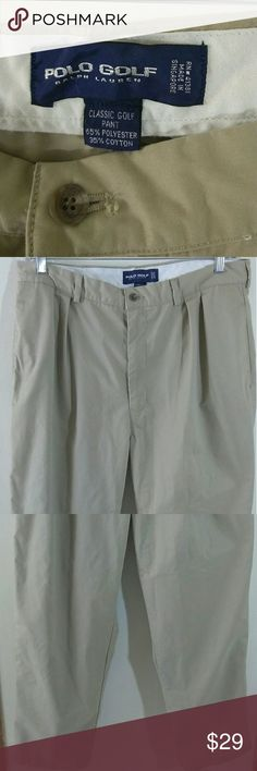"""Polo Golf Ralph Lauren men's golf pants size 38/30 Polo golf by Ralph Lauren men's classic golf pants tan size 38/30 in good preowned condition Measurements Waist 18"""" Length 29"""" Thanks for stopping by my closet Polo by Ralph Lauren Pants Chinos & Khakis"""