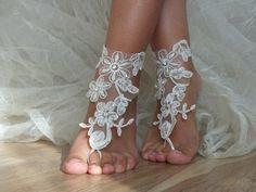 dentelle ivoire mariage de mariée sandales aux pieds nus chaussures de plage