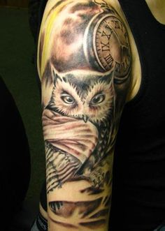 Not that I like this owl, but the meaning.... Owl is the symbol of wisdom, but not just that; it is one of the most lethal predators in the world. Some owls boast of 100% kill rate. That's something that shames the great white sharks and bald eagles. So owl tattoos symbolize brawn with brain. They symbolize balance of mind and muscle.