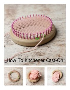 How To Kitchener Cast-On The Loom! An easy to follow tutorial on casting on the loom for toe-up socks, finger up mittens, etc.