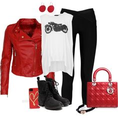 """Red white and black"" by denise-cooper on Polyvore"