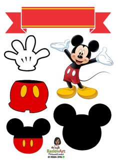 Topo de Bolo - Mickey Cupcakes Mickey, Bolo Mickey E Minnie, Mickey Mouse Classroom, Mickey E Minnie Mouse, Theme Mickey, Mickey Mouse Design, Mickey Mouse Birthday Invitations, Birthday Clipart, Elmo Birthday