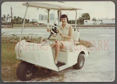 Vintage Color Photo Woman Driving 3 Wheel Golf Cart Electric Car 664963 | eBay