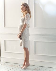 Lace Maternity Wedding Dress Cream