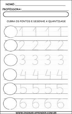 ESCRITA DE NUMERAIS 1 A 9 – PONTILHADO | Cantinho do Educador Infantil