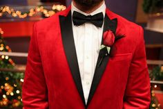 A red tux is a great way for your groom to show his personality and awesome style at your wedding!