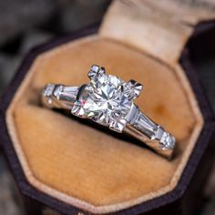 Beautiful Vintage Diamond Engagement Ring w/ Baguettes GIA Antique Diamond Rings, Vintage Diamond, Vintage Rings, Vintage Jewelry, Dream Engagement Rings, Antique Engagement Rings, Engagement Rings With Baguettes, Engagement Solitaire, Black Tungsten Rings