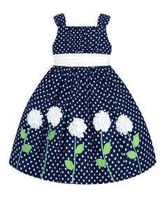 Navy & White Polka Dot Floral Dress - Toddler & Girls by American Princess Little Girl Dresses, Girls Dresses, Toddler Girl Dresses, Toddler Girls, Infant Toddler, Infant Girls, Dress With Cardigan, Cute Outfits For Kids, Trendy Outfits