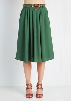 Breathtaking Tiger Lilies Skirt in Stem Green, #ModCloth