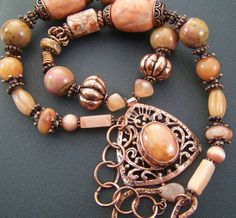 shimmering peach , necklace , mixed stone necklace , copper necklace , etsy jewerly