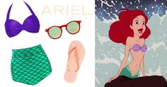 8 swimsuits inspired by Disney and Disney•Pixar characters | Ariel-inspired swim look | The Little Mermaid | [ http://di.sn/6001BFsC1 ]