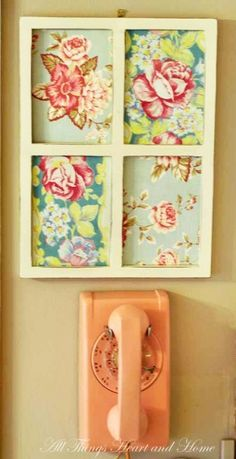 Fabric in a frame or old window with a dry erase marker for a message board!