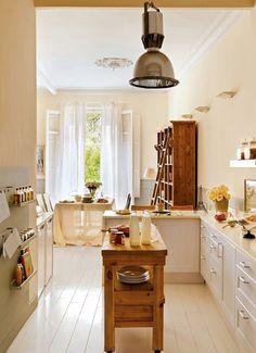 what a pretty kitchen + dining area window Dining Area, Kitchen Dining, Kitchen Decor, Narrow Kitchen, Kitchen Island, Crisp Kitchen, Dining Room, Cozy Kitchen, Wooden Kitchen