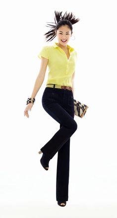 Loft - Polo Henley cap sleeve blouse $49.50 and trouser jeans $69.50