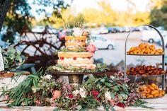 cake table - photo by Cara Robbins Photography http://ruffledblog.com/floral-inspired-treehouse-wedding