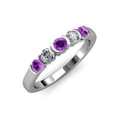 0.36 CT 14k White Gold Pink Sapphire /& White Diamond Wedding Band Stackable Ring