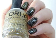 Orly - Secret Society Collection: ☆ Lavish Bash ☆ ...  a clear base filled with silver glitter, gold microglitter and holographic bar glitter, layered over a black base