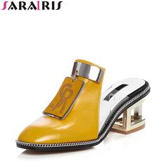 Cheap brand pumps, Buy Quality pumps brand directly from China pumps women Suppliers: SARAIRIS 2018 Summer New Brand Natural Leather Mules Pumps Metal Decoration Shoes Woman Fretwrok Heels Lady Footwear