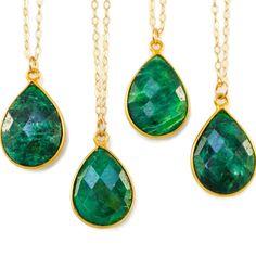 Genuine Emerald Necklace, Gold Emerald Green Necklace, Emerald Pendant Necklace, Green Gemstone Necklace, May Birthstone, Green Necklace by Gemstonique on Etsy https://www.etsy.com/listing/259563964/genuine-emerald-necklace-gold-emerald