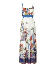 Look at this Cream Floral Butterfly Tie-Waist Maxi Dress on #zulily today!