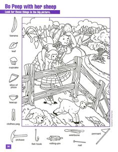 Bo Peep With Her Sheep Hidden pictures coloring page Hidden Picture Games, Hidden Picture Puzzles, Hidden Images, Hidden Words, Colouring Pages, Coloring Books, Hidden Pictures Printables, Clothes Pegs, Hidden Objects