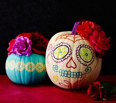 All you need to pull of these fun Dia de los Muertos pumpkins is some puff paint and a paper-punched vinyl stencil. Get the tutorial at Clinton Kelly. - WomansDay.com