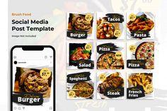 Food brush social media banner instagram... | Premium Psd #Freepik #psd #background #banner #frame #food Social Media Banner, Social Media Design, Banner Instagram, Instagram Design, Food Themes, Templates, Background Banner, Web Design, Advertising