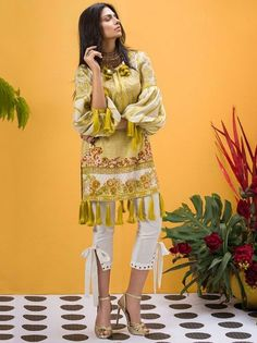 ETHNIC by Outfitters Unstitched 3 Piece Suit Hungarian Fauna in Yellow Simple Pakistani Dresses, Pakistani Fashion Casual, Pakistani Bridal Dresses, Pakistani Dress Design, Pakistani Outfits, Fancy Dress Design, Stylish Dress Designs, Designs For Dresses, Stylish Dress Book