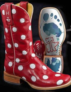 Womens Tin Haul Dotty Red Cowboy Boots