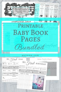 Ideas Baby Boy Scrapbook Printables Book Pages For 2019 Baby Book Pages, Baby Record Book, Free Baby Shower Printables, Free Printables, Baby Records, Tooth Chart, Baby Journal, Pregnancy Journal, Pregnancy Info