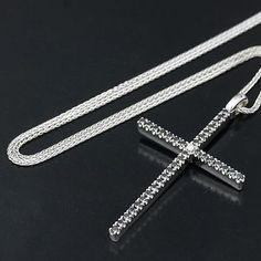Auth [Damiani] 750WG Mystery Cross M Necklace Black Diamond/90877/PRE-OWNED - http://designerjewelrygalleria.com/damiani/auth-damiani-750wg-mystery-cross-m-necklace-black-diamond90877pre-owned-2/