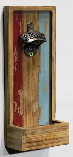 Features:  -Distressed multi color.  -Mounts securely to wall using 2-keyhole hangars.  -Receptacle for bottle caps.  -Rustic style.  -Timberland collection.  -Hand-painted.  Distressed: -Yes.  Subjec(Bottle Painting)