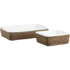 baking dish with a basket - pull out of oven and set in basket to act as it's own trivet