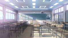 School Anime Scenery Background Wallpaper