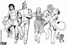 Colorear El Mago de Oz: el Espantapájaros, el Hombre de hojalata, Dorothy, el León Cobarde y el perro Toto