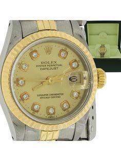 Ladies Rolex DateJust Steel 18k Gold Two Tone 69173 26mm Diamond Watch & Box
