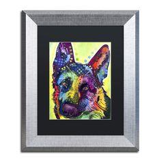 Dean Russo 'German Shepherd' Black Matte, Framed Wall Art