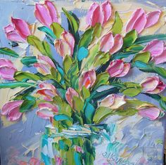 Oil Painting Shades of  Pink Tulips Home Decor by IronsideImpastos