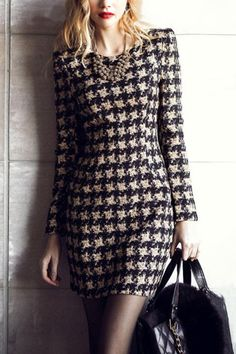 Love Love LOVE this Dress! A-line Houndstooth Pattern Round Neck Long Sleeve Dress #Black_and_White #Houndstooth #Winter #Fashion