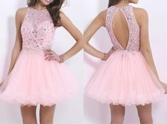 Luxurious Crystal Beaded Backless Short Prom Dresses,Applique Tulle Homecoming Dresses,Sparkly Custom Made Homecoming Party Gowns