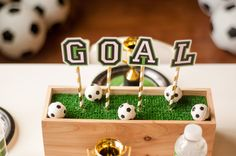 Find and shop thousands of creative projects, party planning ideas, classroom inspiration and DIY wedding projects. Soccer Theme, Soccer Birthday, 9th Birthday Parties, Soccer Party, Soccer Banquet, Soccer Fans, 13th Birthday, Birthday Ideas, Soccer Centerpieces